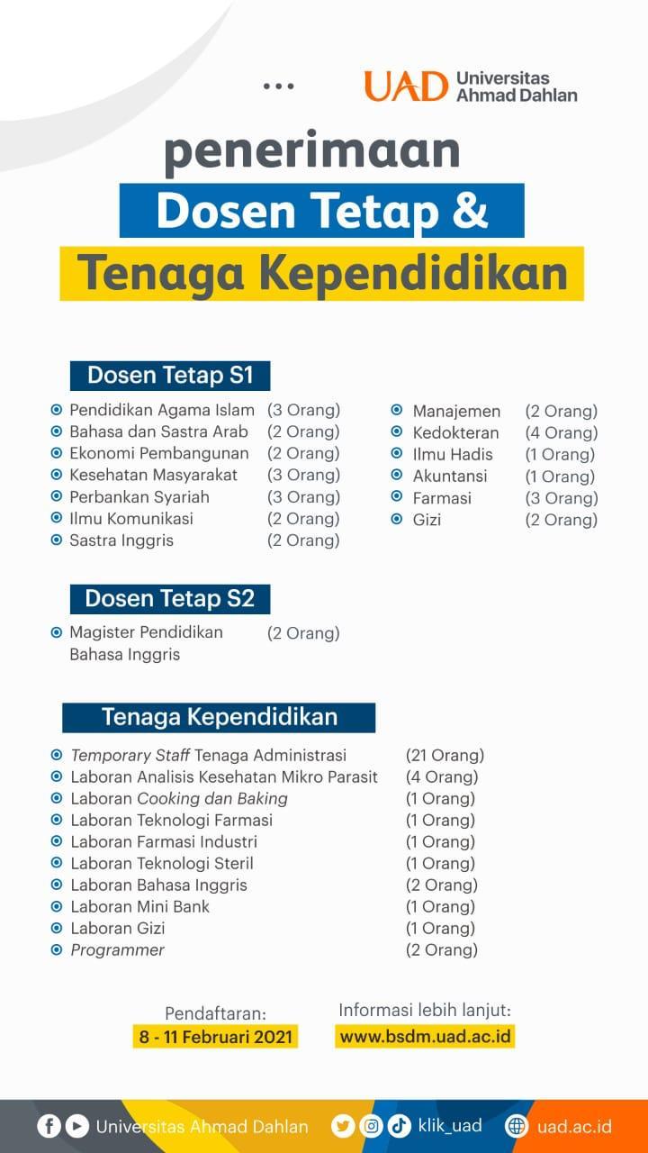 Lowongan Kerja Dosen Universitas Ahmad Dahlan Yogyakarta Ejogja