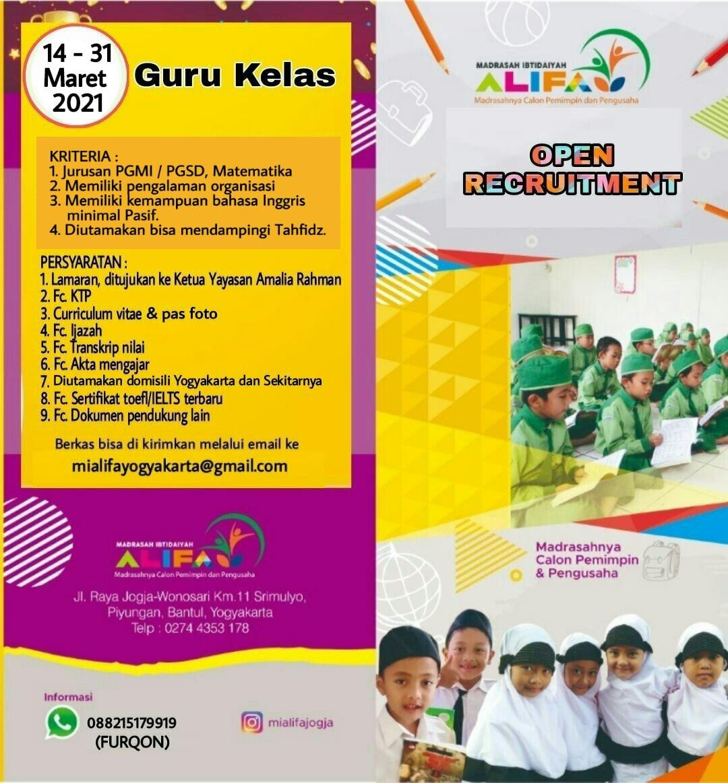 Loker Guru MI Alifa Bantul Yogyakarta
